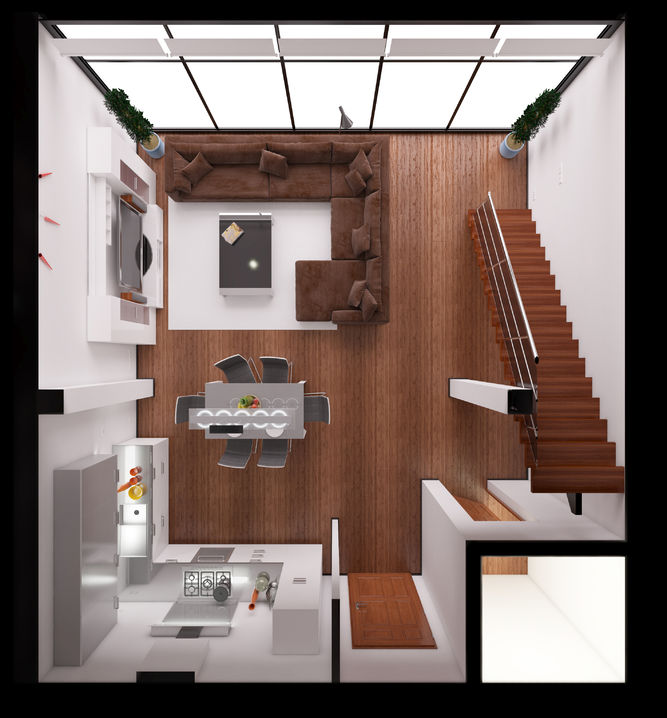 50822798 - 3d interior rendering of a modern tiny loft